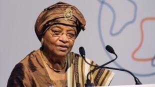 Rais wa Liberia Ellen Johnson Sirleaf ambaye anawania nafasi hiyo katika ngwe ya pili