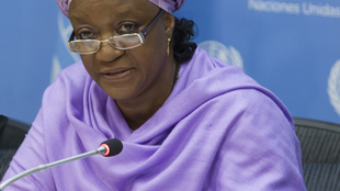 UN Special Representative Zainab Bangura briefs journalists on the Secretary-General's latest report, which will be discussed by the Security Council on 15 April.