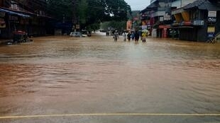 Flooded town in Sangli, western state of Maharashtra, where at least 14 people have died in the monsoons.