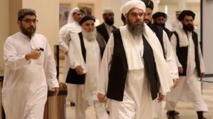Делеганция талибов во время переговоров в Катаре в июле 2019 г.
