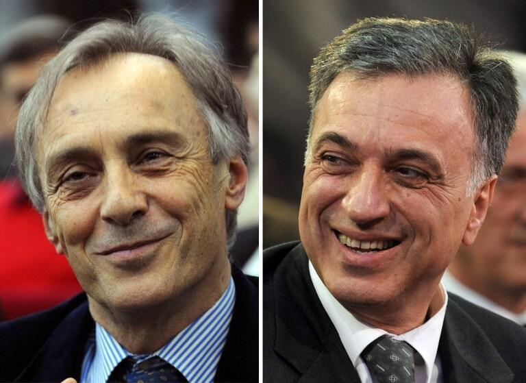 Miodrag Lekic (g.), et le président sortant Filip Vujanovic (d.)