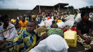 Populations déplacées dans le camp de Monigi à quelque  5 km de Goma, le 18 novembre 2012.