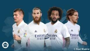 'Yan wasan Real Madrid Sergio Ramos, Marcelo, Modric da Toni Kroos