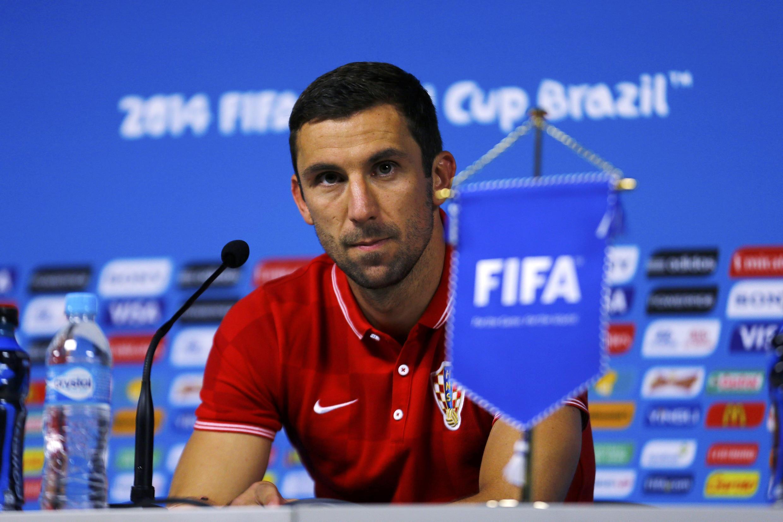 Защитник сборной Хорватии Дарьо Срна на пресс-конференции в Сан-Паоло, 11 июня 2014 г.