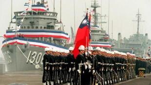 Hải Quân Đài Loan và 4 chiếc tàu phá mìn lớp Aggressive mua của Hoa Kỳ. Ảnh chụp ngày 01/03/2019 tại một căn cứ Hải Quân ở miền nam Đài Loan.