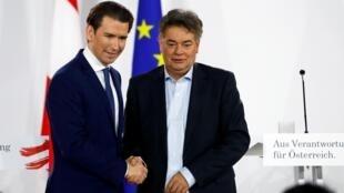 Le chancelier conservateur autrichien, Sebastien Kurz (à gauche), et le patron des Verts, Werner Kogler.