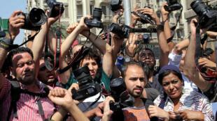 Le 28 avril, des journalistes manifestaient devant le local du syndicat contre le ministre de l'Intérieur égyptien (photo d'illustration).