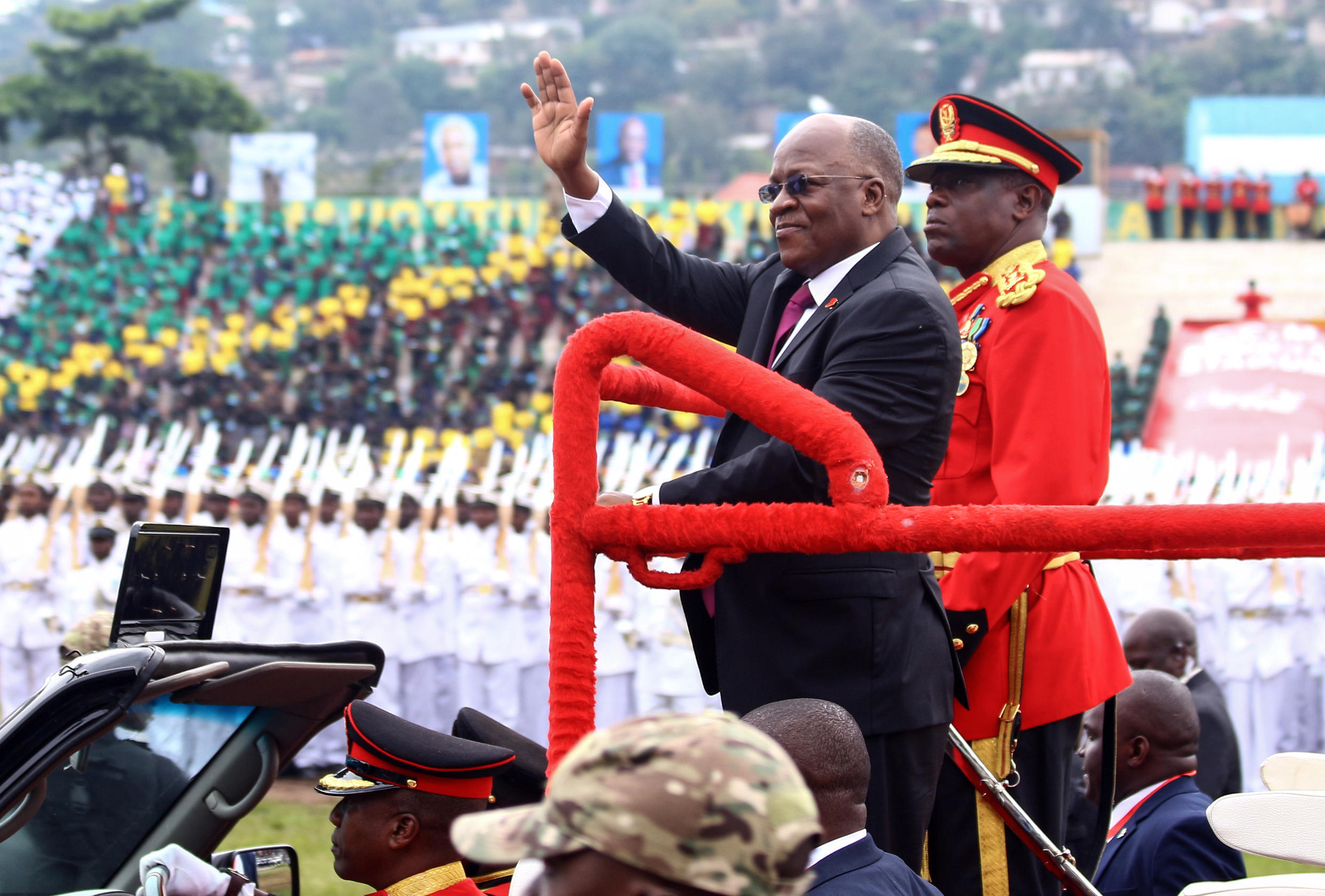 President John Magufuli, centre, at ceremonies last December to mark Tanzania's 58th anniversary of independence
