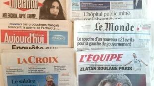 Os diários franceses desta quarta-feira, 20 de Abril de 2016
