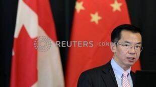 Ông Lư Sa (Lu Shaye), đại sứ Trung Quốc tại Canada, phát biểu về dự án Con đường Tơ lụa mới tại đại học Carleton, Ottawa, ngày 14/12/2018.