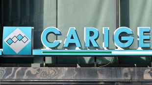 Le logo de la banque Carige. L'incertitude était de nouveau vive en Italie quant à l'avenir de la banque Carige, après la décision de l'américain BlackRock de se retirer de son plan de sauvetage, le 9 mai 2019.