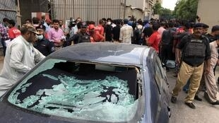 The scene outside the Pakistan stock exchange during the 29 June 2020 attack.