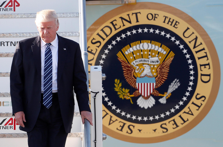 Tổng thống Mỹ Donald Trump tại sân bay Leonardo da Vinci-Fiumicino, Roma, Ý, 23/05/2017.
