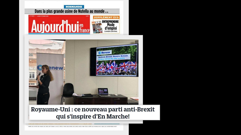 Destaque no jornal Aujourd'hui en France para o lançamento de um novo partido no Reino Unido inspirado na legenda criada pelo presidente francês, Emmanuel Macron.