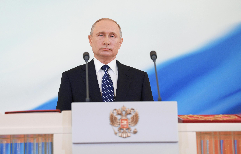 Tổng thống Nga Vladimir Putin trong buổi lễ nhậm chức, điện Kremlin, Matxcơva, 7/5/2018.