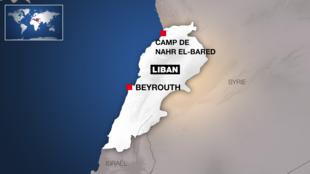 Localisation du camp palestinien de Nahr el-Bared, au Liban.