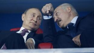 Владимир Путин и Александр Лукашенко на закрытии Европейских игр в Минске, 30 июня 2019