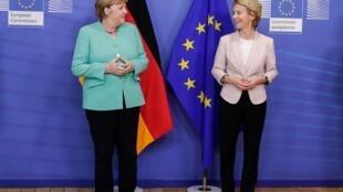 Angela Merkel et Ursula von der Leyen à Bruxelles le 8 juillet 2020.