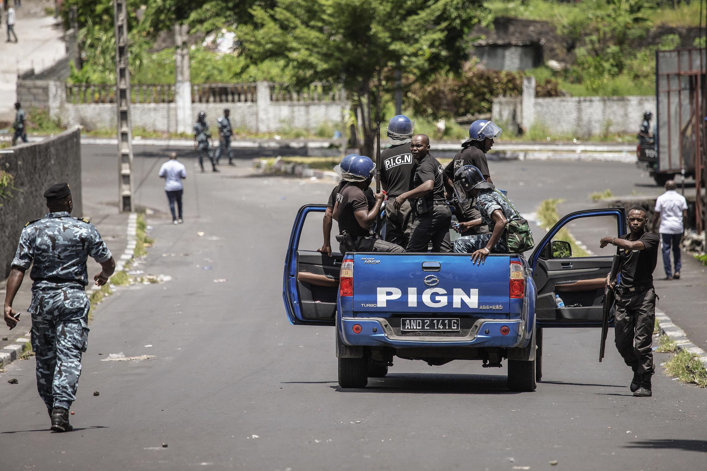 Patrouille de gendarmerie à Moroni, aux Comores, le 25 mars 2019.