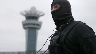 A special forces policeman at Orly airport outside Paris on March 18, 2017.