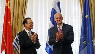 Chinese Premier Wen Jiabao and Greek Prime Minister George Papandreou in Athens.