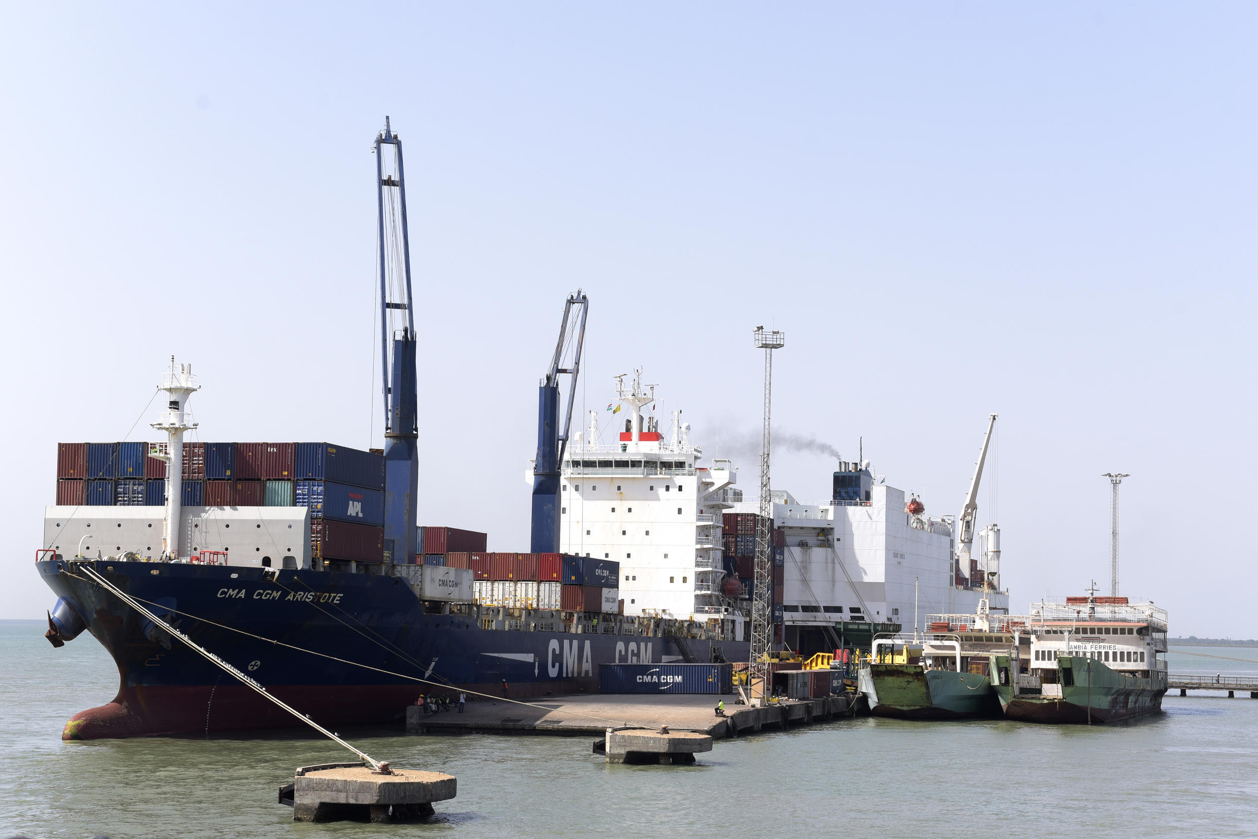 The CMA CGM Aristote container ship is docked in the port of Banjul, Gambia, on 8 April 2017.