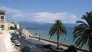 Seafront boulevard in Ajaccio, Corsica's capital.