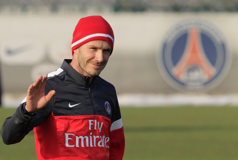 O atacante David Beckham, em treino do Paris Saint Germain