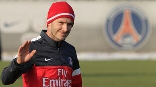 David Beckham  sous le maiilot du Paris Saint-Germain.