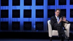 U.S. Treasury Secretary Timothy Geithner attends a session at the World Economic Forum