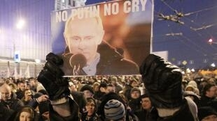 """Thousands of protesters chanting """"Russia without Putin"""" took to the streets of Moscow and St Petersburg on Monday 5 March, 2012"""
