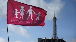 Trademark flag of the Manif Pour Tous movement, Paris, 2 February, 2014