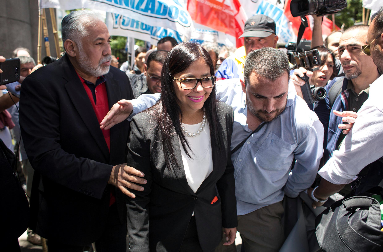 La ministre vénézuélienne des Affaires étrangères Delcy Rodriguez après sa rencontre avec son homologue argentine, le 14 décembre 2016 à Buenos Aires.