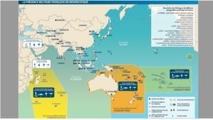 """Hiện diện quân sự của Pháp tại vùng Ấn Độ-Thái Bình Dương. Ảnh chụp từ tài liệu """"Pháp và an ninh Ấn Độ-Thái Bình Dương"""" 2019, bộ Quốc Phòng Pháp."""