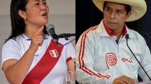 La candidata derechista Keiko Fujimori (izq.) afronta al izquierdista Pedro Castillo (der.) en las elecciones presidenciales del 6 de junio en Perú
