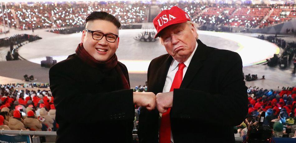圖為假金正恩與假特朗普曾在平昌冬奧會作秀