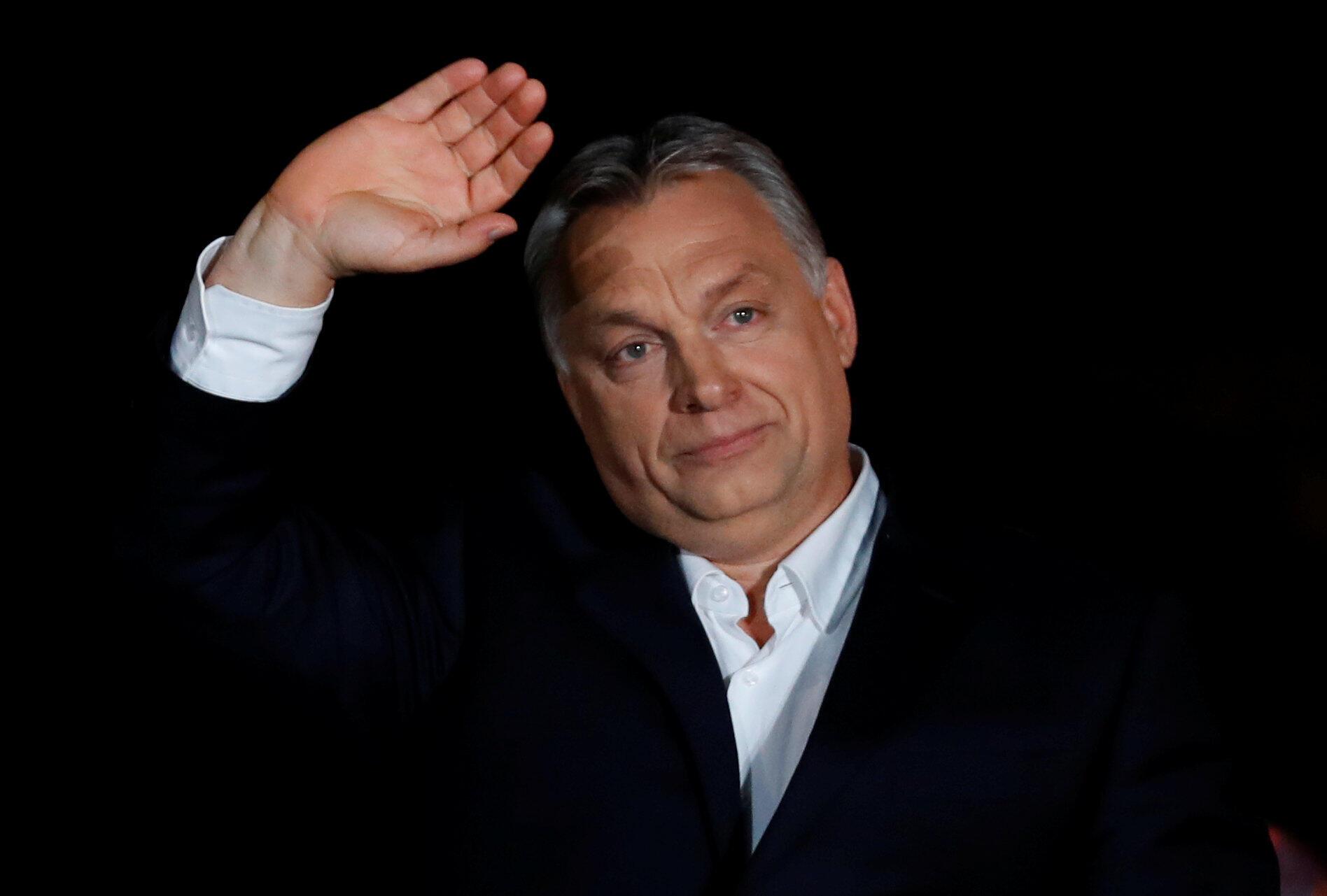 Thủ tướng Hungary Viktor Orban sau khi kết quả sơ bộ bầu cử được loan báo, Budapest, 8/4/2018.