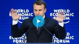 法國總統馬克龍在達沃斯論壇演講