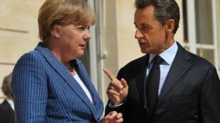 نیکلا سارکوزی، رئیس جمهوری فرانسه و آنگلا مرکل، صدر اعظم آلمان