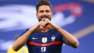 Olivier Giroud scored twice on his 100th appearance for France to become his country's second highest goalscorer.