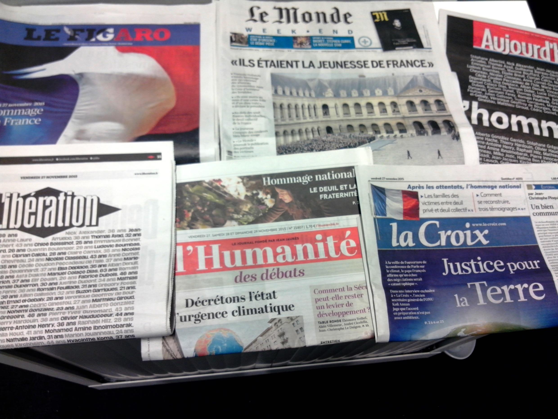 Capas dos jornais diários franceses de 27/11/15