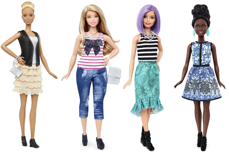 Bốn mẫu Barbie mới của công ty Mattel.