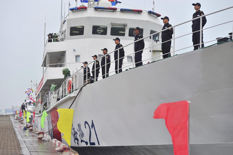 Tàu hải giám Trung Quốc thuộc hạm đội Hải Nam tại cảng Hải Khẩu Hải Nam ngày 27/12/ 2012.