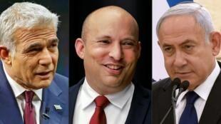 Fotomontaje creado el 5 de mayo de 2021 mostrando, de izquierda a derecha, a los políticos Yair Lapid (centrista), Naftali Bennett (derecha radical) y al primer ministro Benjamin Netanyahu