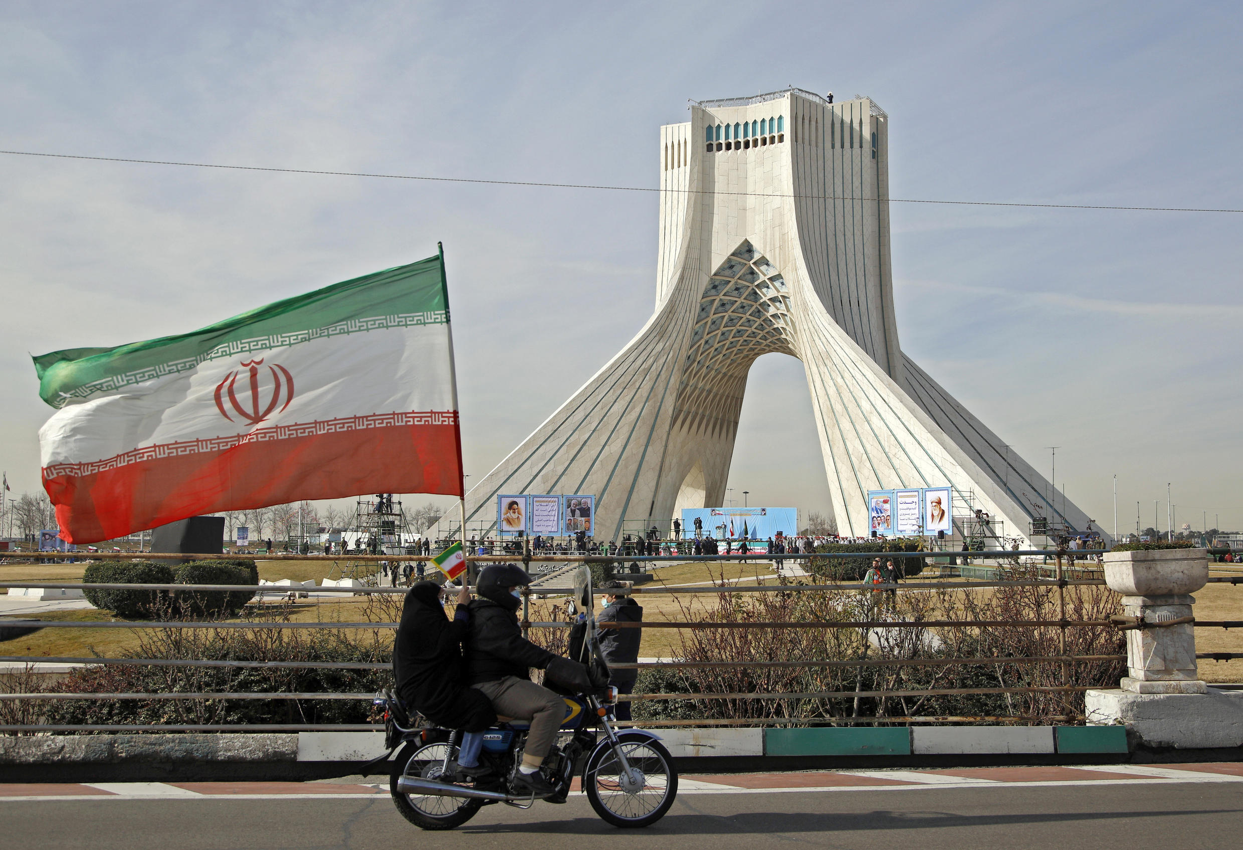 Iranians take part in a ceremony marking the 42nd anniversary of the 1979 Islamic Revolution on February 10