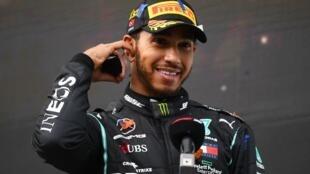 Le Britannique Lewis Hamilton après son 7e titre de champion du monde, en Turquie, le 15 novembre 2020.