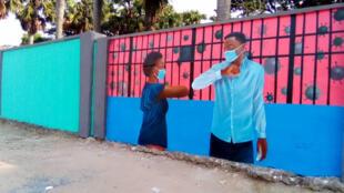 (Ilustration) Kinshasa, la pandémie de Covid-19 s'invite sur les murs de la ville comme ici sur l'enceinte de l'Académie des Beaux Arts.