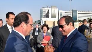 Egyptian President Abdel Fattah al-Sisi meets France's François Hollande in Cairo in April.