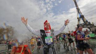 Alain participant du marathon de Paris de ce dimanche 8 avril 2018.
