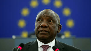 Le président sud-africain, Cyril Ramaphosa, devant le Parlement européen, le 14 novembre 2018.